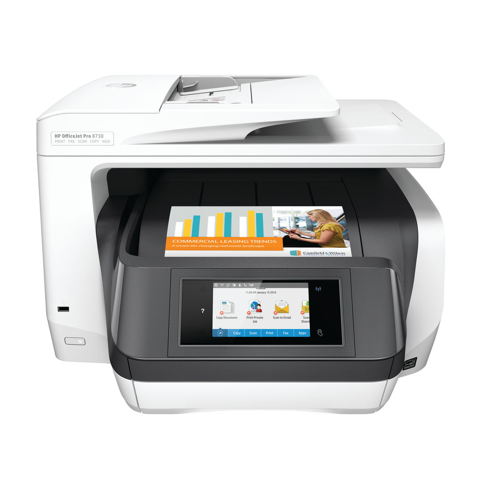 HP Officejet Pro 8730 White All-in-One Printer - D9L20A#A80