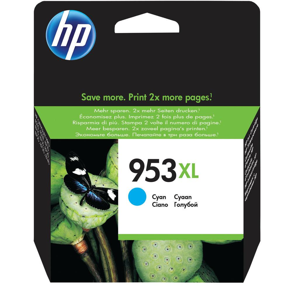 HP 953 XL Cyan Ink Cartridge - High Capacity F6U16AEBGX