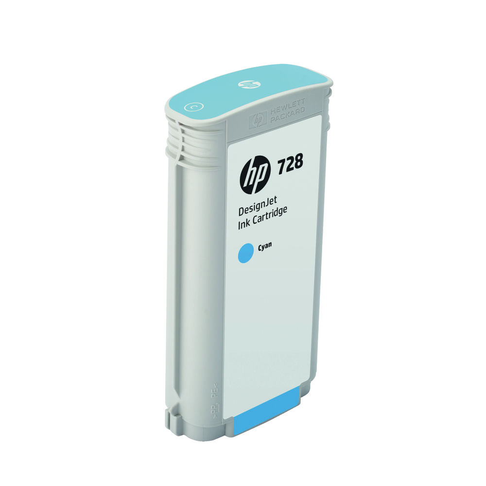 HP 728 DesignJet Ink Cyan Cartridge 130ml (Capacity 130ml) F9J67A