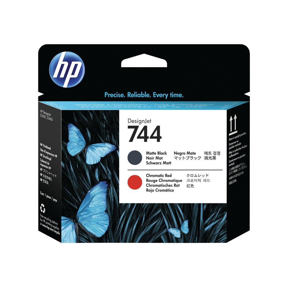 HP 744 Matte Black and Red Printhead - F9J88A