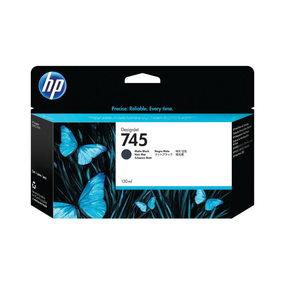 HP 745 DesignJet Matte Black Ink Cartridge 130ml F9J99A