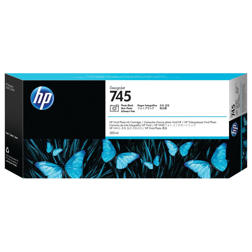 HP 745 DesignJet Photo Black Ink Cartridge 300ml F9K04A