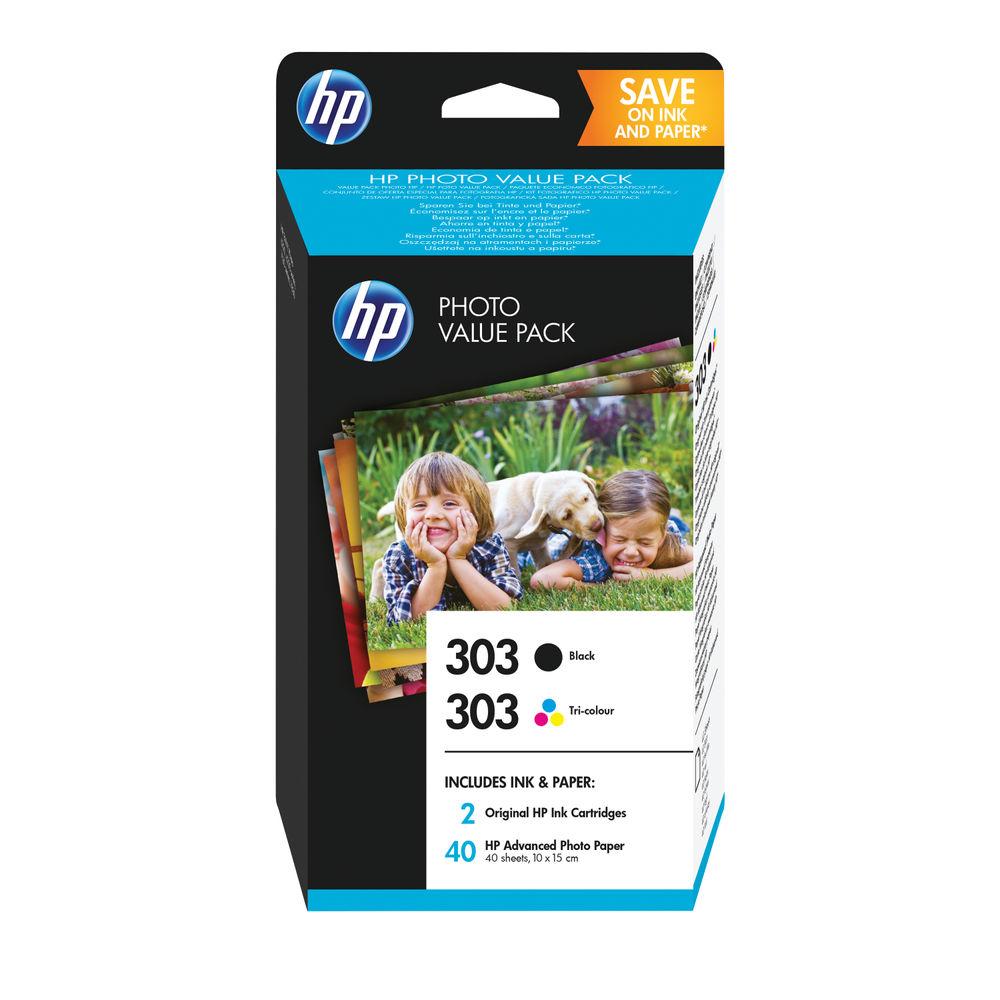 HP 303 Photo Value Pack - Black / Tricolour Cartridges 40 Sheets 10 x 15 Z4B62EE
