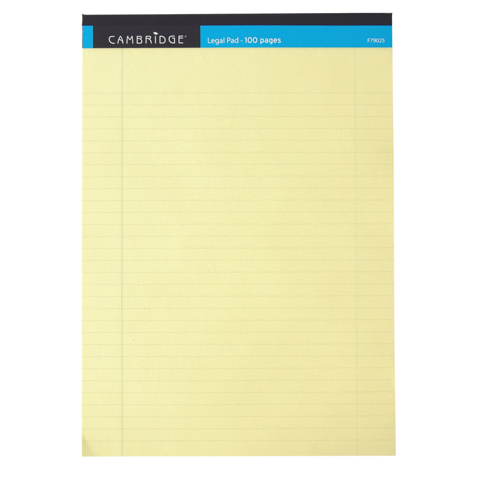 Cambridge Yellow A4 Everyday Ruled Legal Pads, Pack of 10 - 100080179