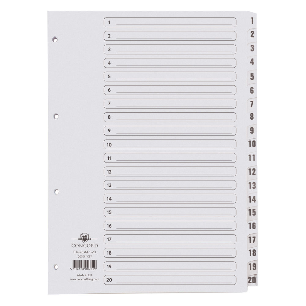 Concord A4, 1-20 Numbered Tabs, White 20 Part Numeric Index Dividers - 00701/CS7