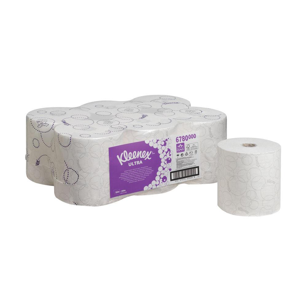Kleenex White 2-Ply Ultra Hand Towel Rolls, Pack of 6 - 6780
