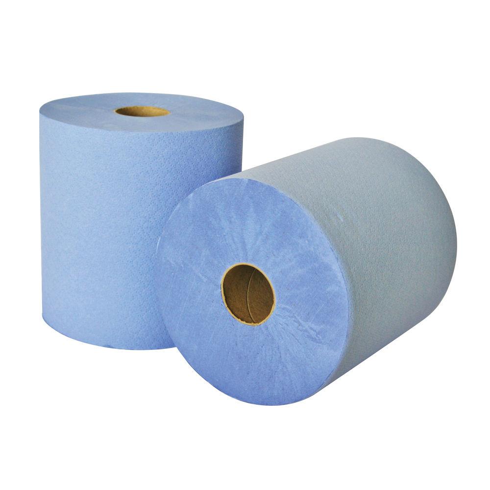 Leonardo Blue 2-Ply Laminated Hand Towel Rolls, Pack of 6 - RTB175DS