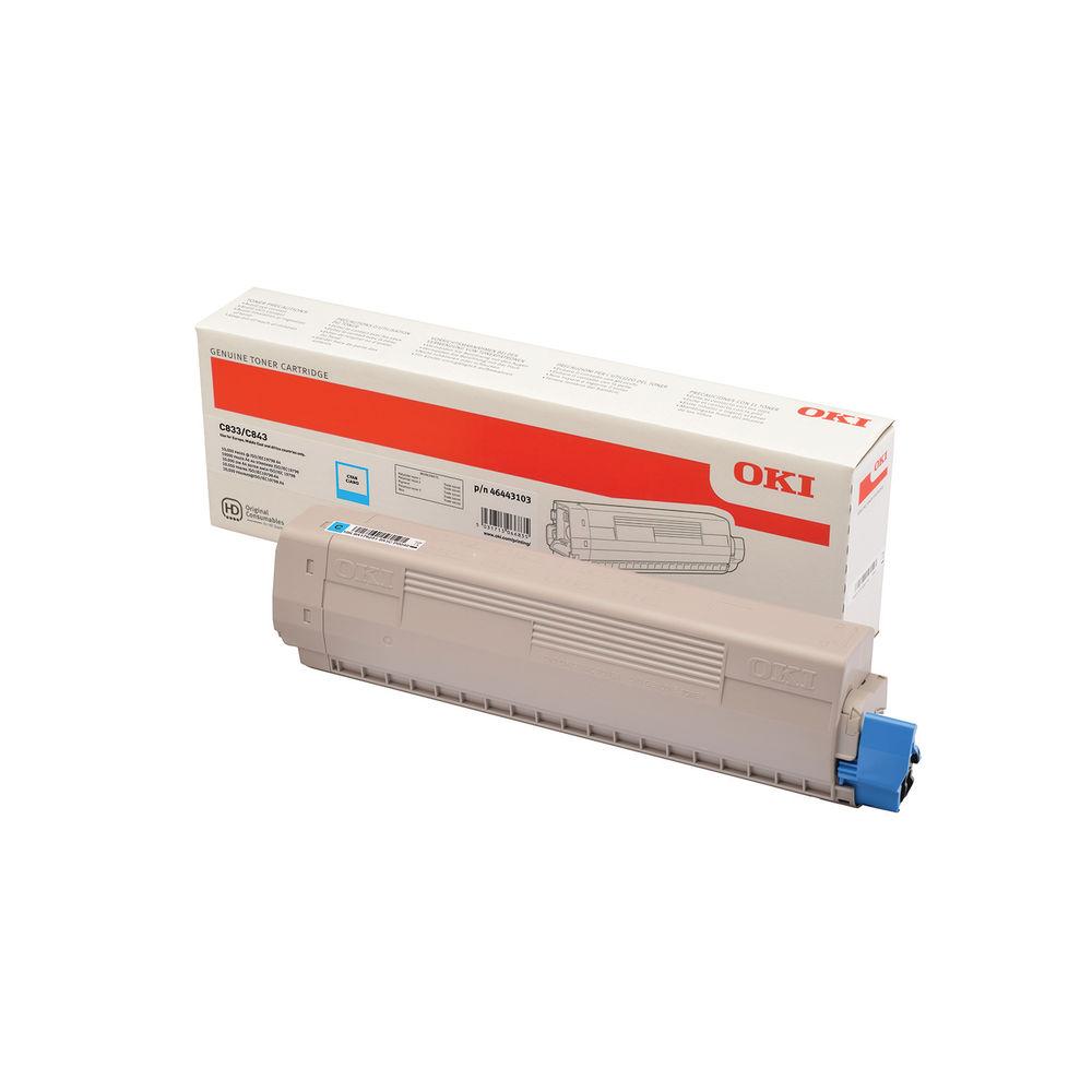 Oki C833 Cyan Toner 843 (10,000 Page Capacity) 46443103