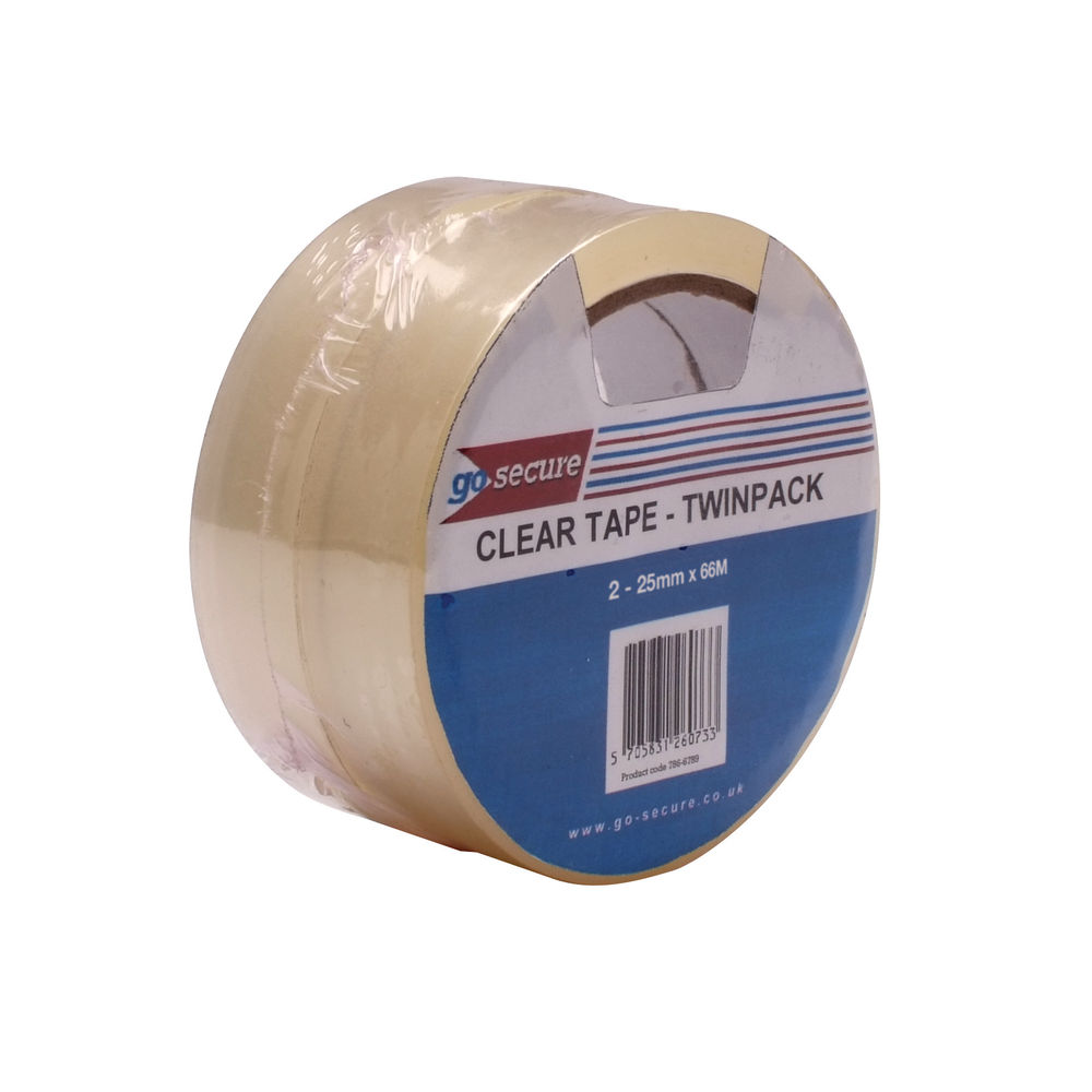 Go Secure Clear 25mm x 66m Twin Pack Tape, Pack of 6 - PB02305