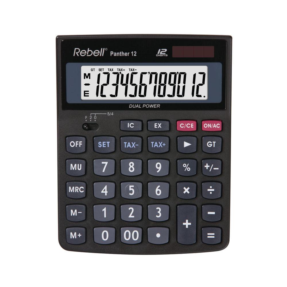 Rebell Panther 12 BX Black Desktop Calculator - RE-PANTHER 12 BX