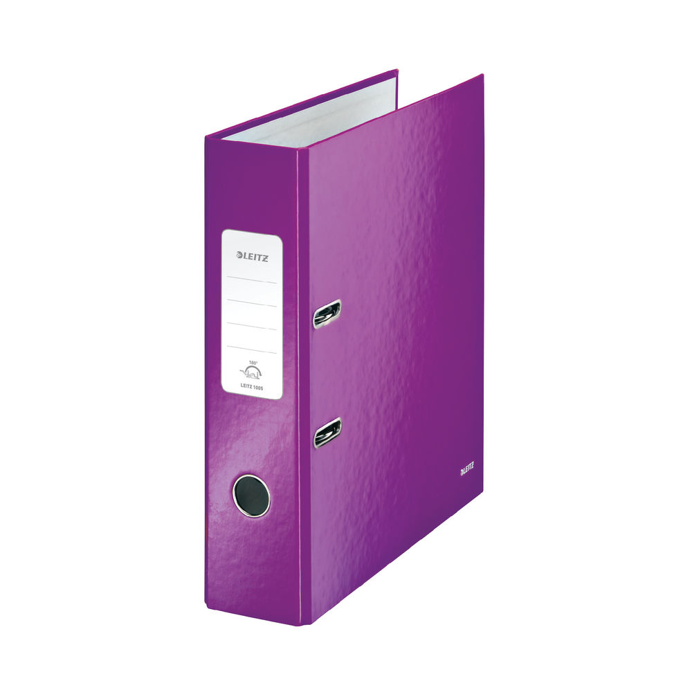 Leitz WOW Metallic Purple A4 Lever Arch File 80mm - Pack of 10 - 10050062