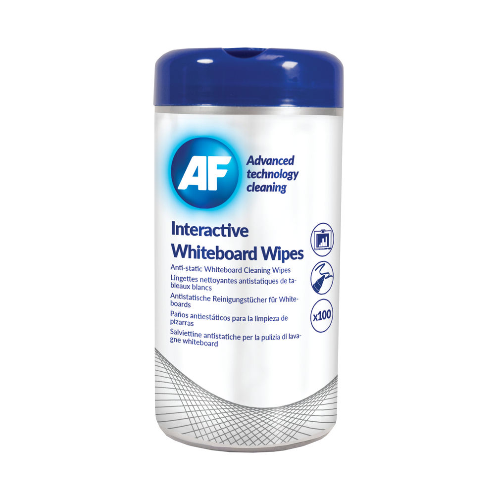 AF Interactive Whiteboard Wipes Tub, Pack of 100 - AWBW100T