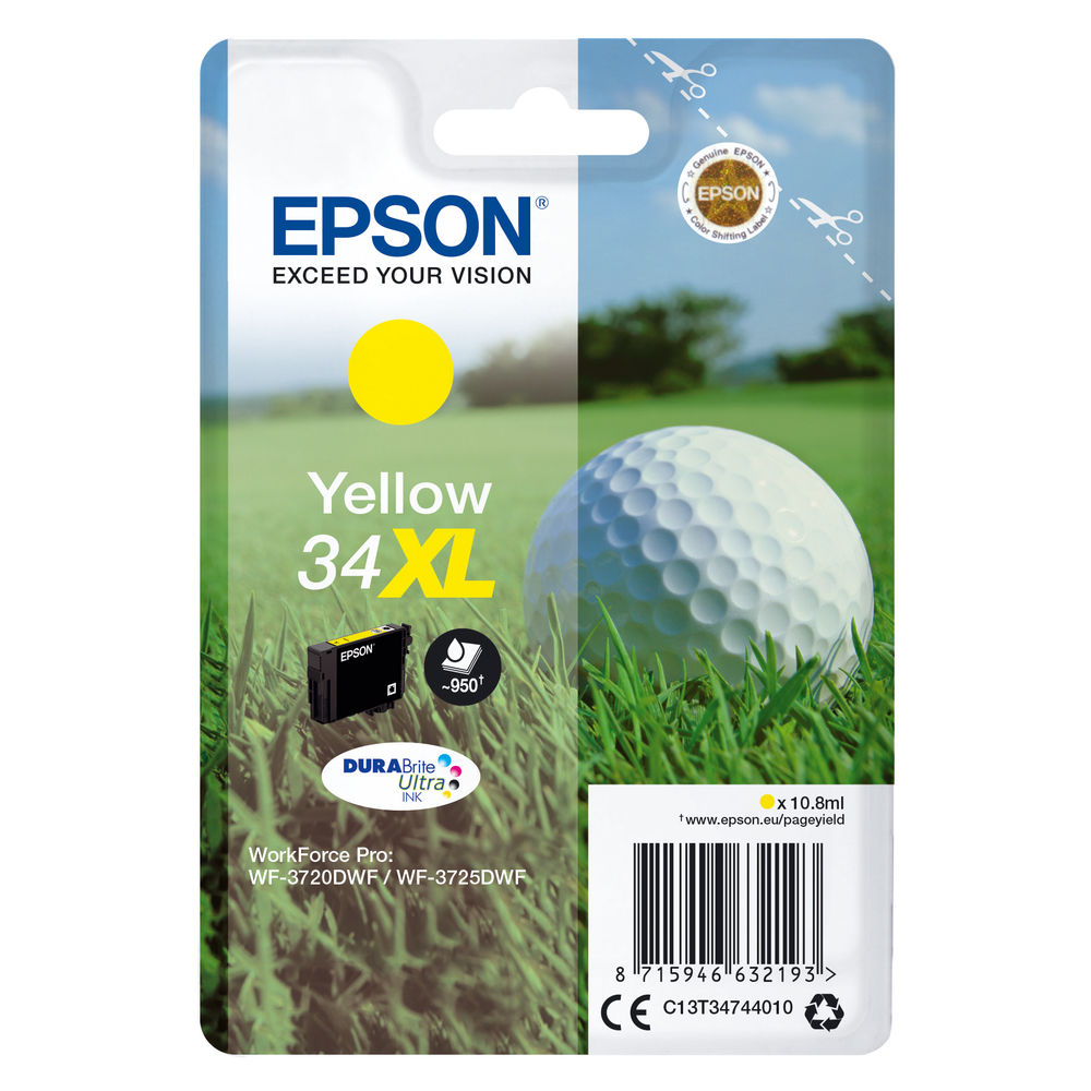 Epson 34XL Yellow Ink Cartridge - High Capacity C13T34744010