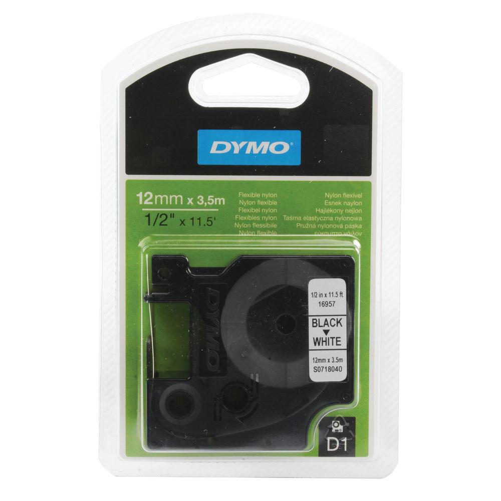 Dymo D1 Flexible Nylon Label Tape Black on White - 16957 / S0718040