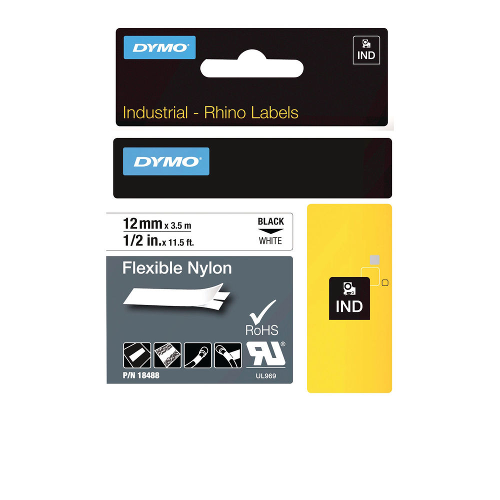 Dymo Black on White 12mm x 3.5 Rhino Flexible Nylon Tape - 18488