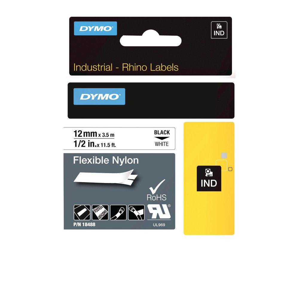 Dymo 18488 Rhino Nylon Tape 12mm x 3.5m Black on White S0718100