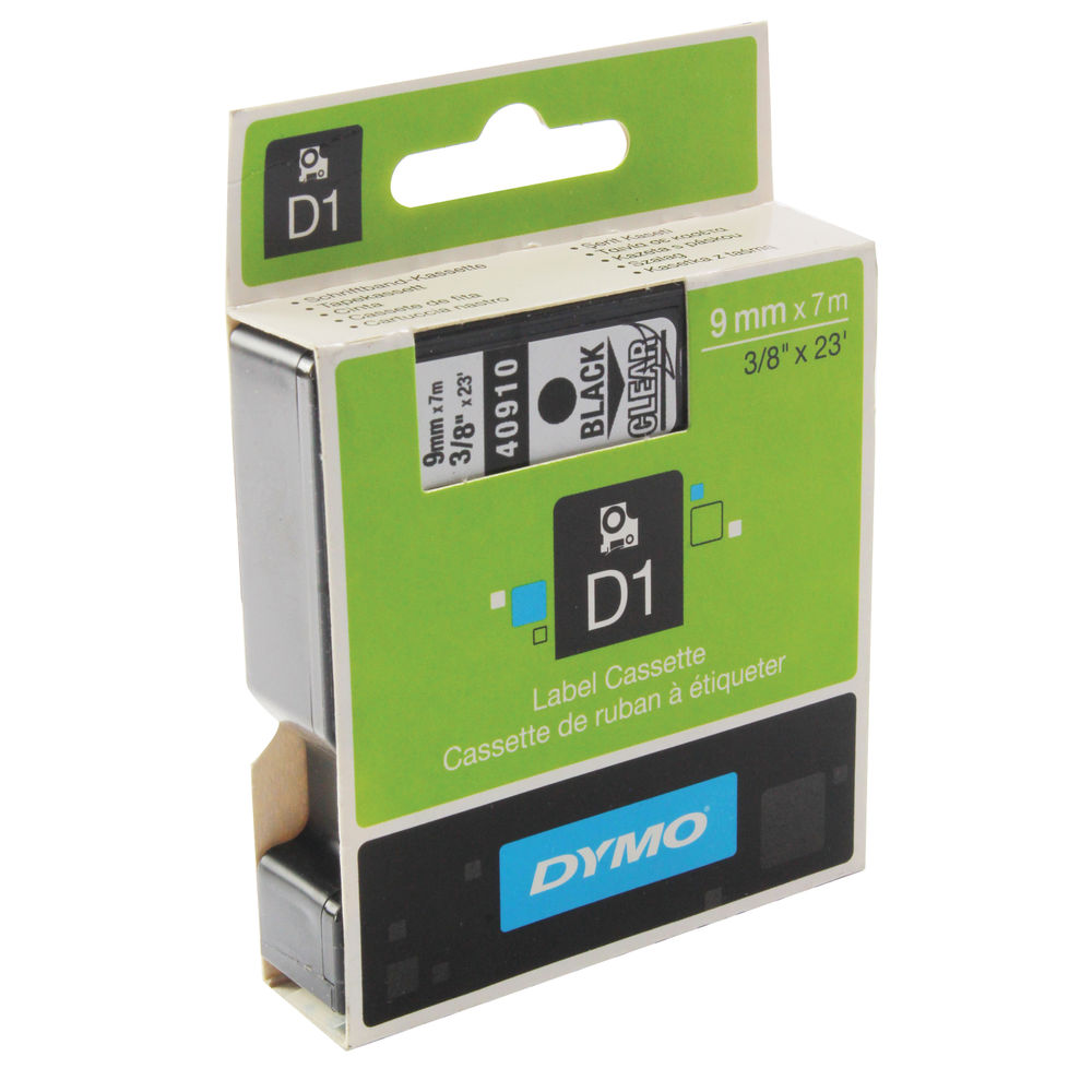Dymo D1 Labelmaker Tape 9mm x 7m Black on Clear | S0720670