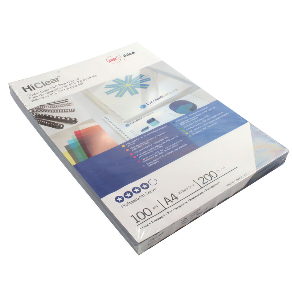 GBC HiClear A4 PVC Binding Covers 200 Micron (Pack of 100) CE012080U