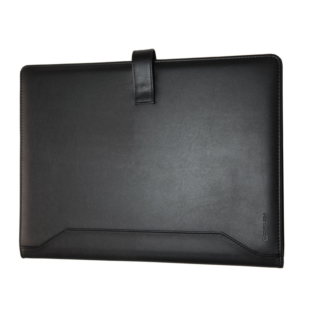Monolith Black Leather-Look Conference Folder With A4 Pad 2900