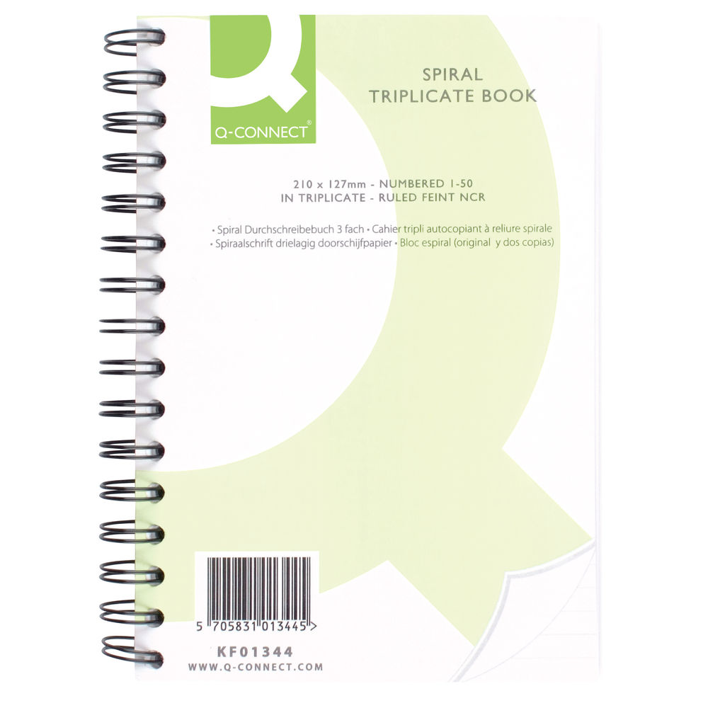 Q-Connect 210 x 127mm Wiro Bound Carbonless Triplicate Book - KF01344