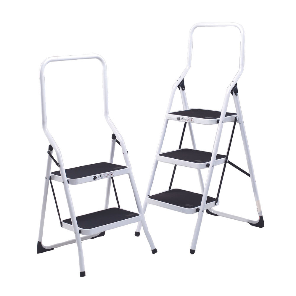 Folding Step Stool 2 Tread High Back White Aluminium 402790