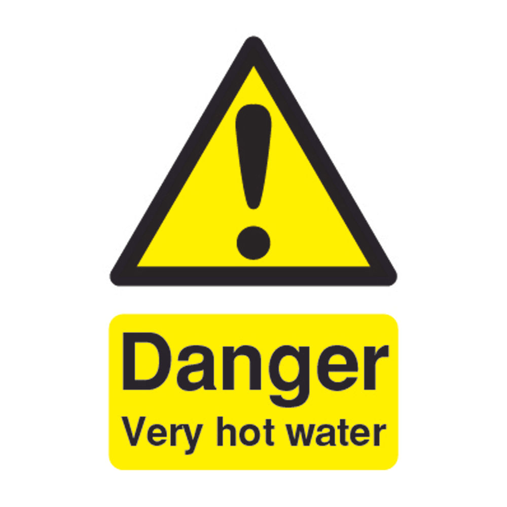 Danger 75 x 50mm PVC Very Hot Water Safety Sign - HA1734R