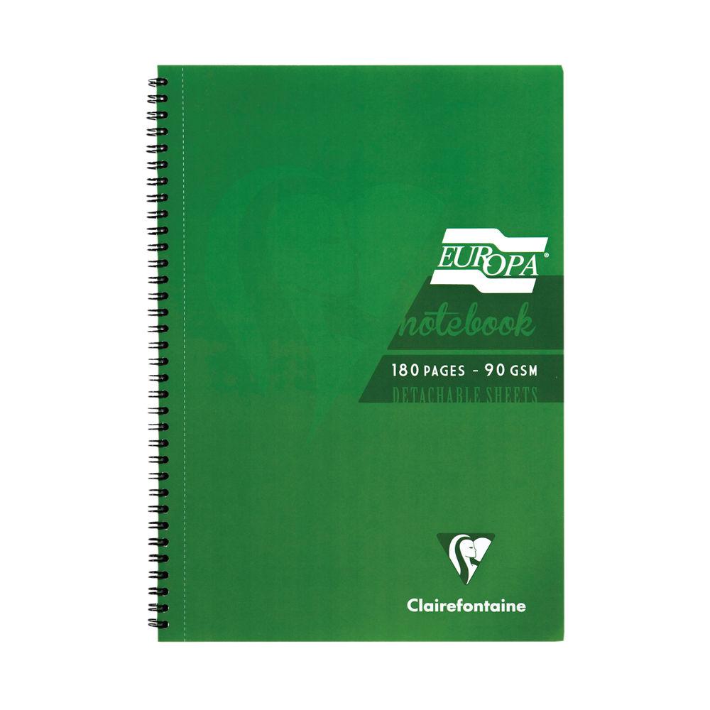 Europa Green A5 Wirebound Notebook, Pack of 5 - 5810Z