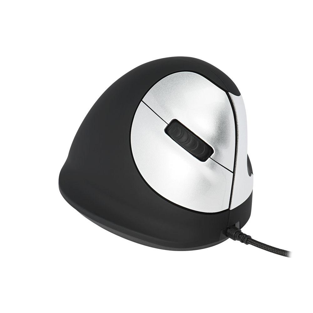 R-GO Black/Silver Medium Left Handed Wired Ergonomic Mouse - RGOHELE