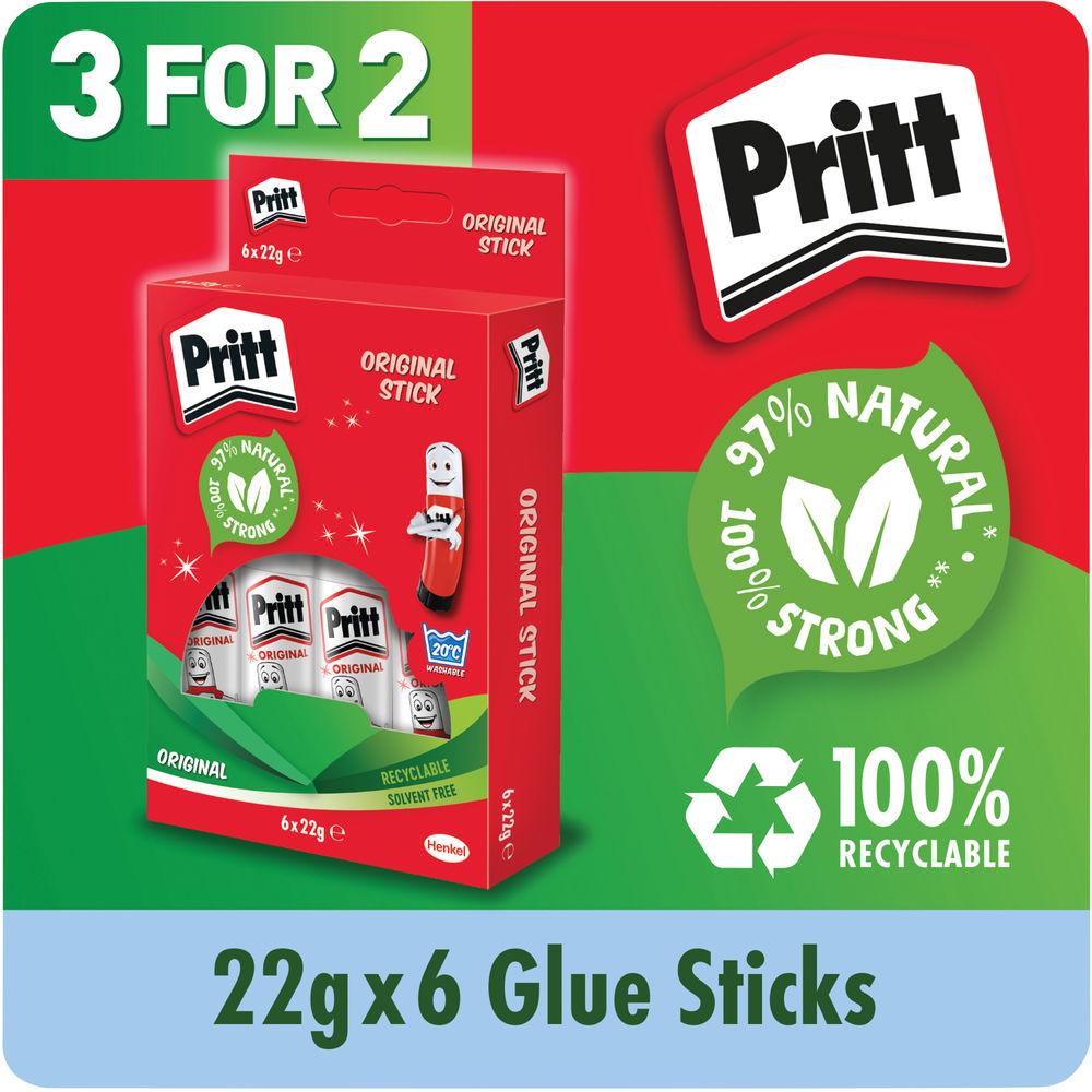 Pritt Stick 22g Glue Stick (Pack of 6) - 3 for 2 Offer! - HK810850