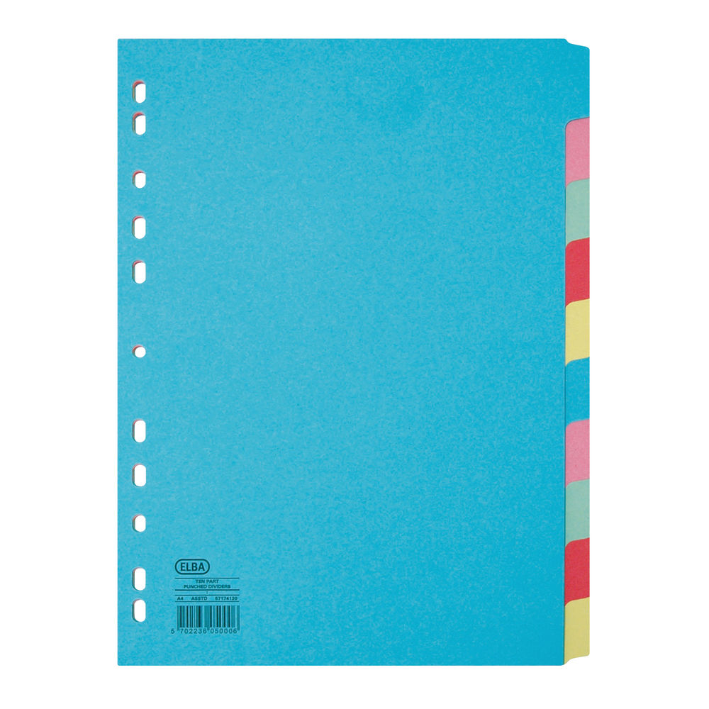 Elba-10 Part Card Divider Recycled Manilla A4 Assorted 100080806