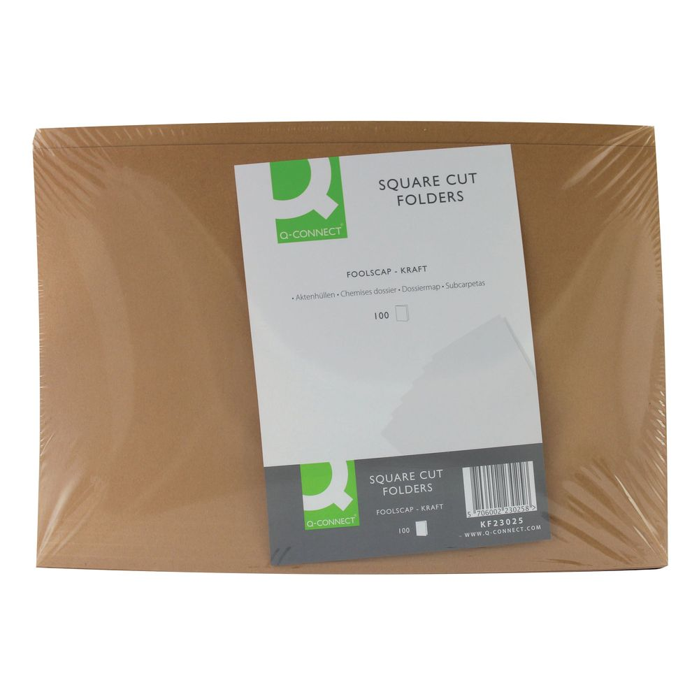 Q-Connect Buff Kraft Square Cut Folders 170gsm, Pack of 100 - KF23025