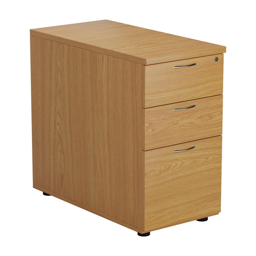 First 730mm Nova Oak 3 Drawer Desk High Pedestal