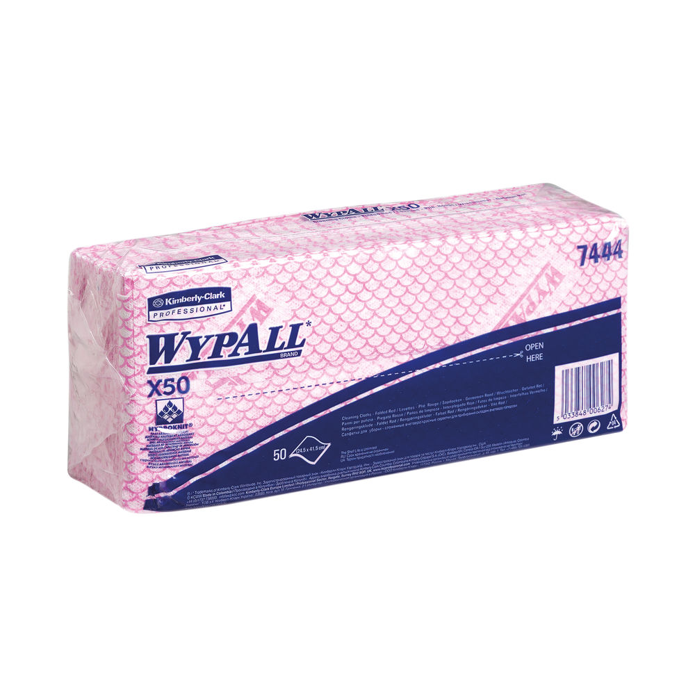 Wypall X50 Cleaning Cloths Red (Pack of 50) 7444