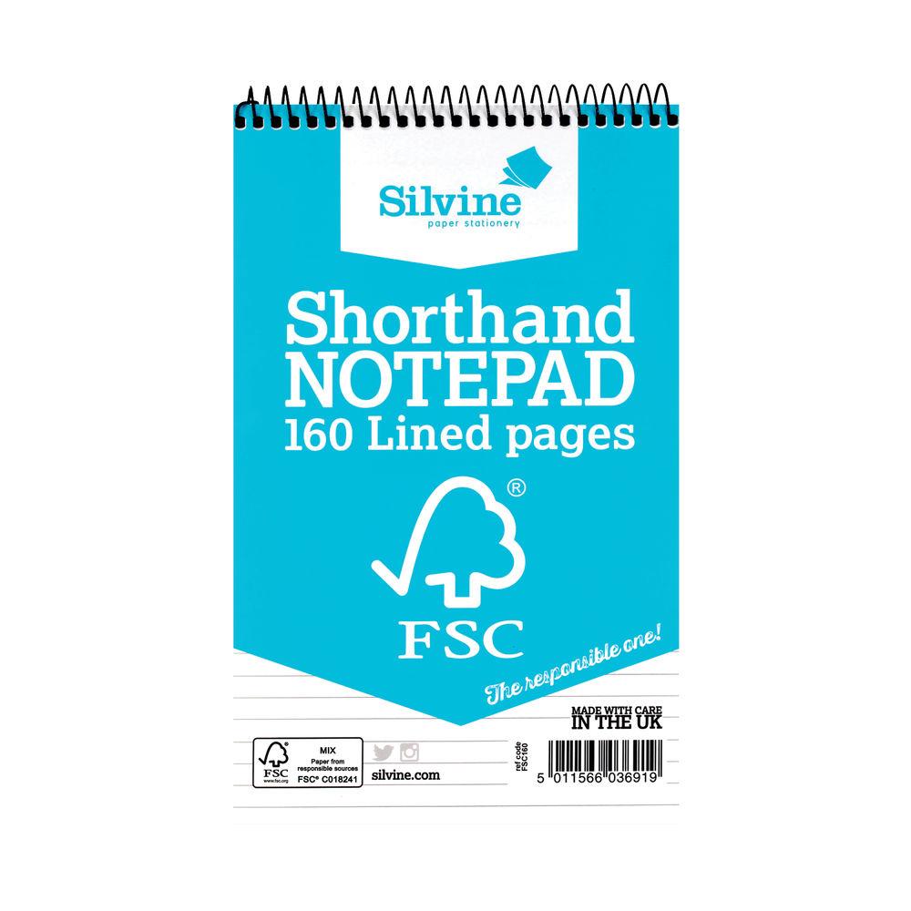 Silvine Shorthand Spiral Notepads (Pack of 10) - FSC160