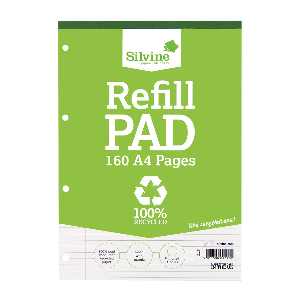 Silvine A4 Lined Recycled Refill Pads, Pack of 6 - RE4FM-T