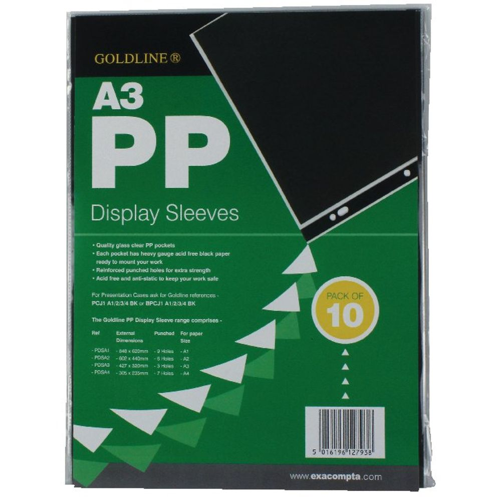 Goldline A3 Polypropylene Display Sleeves, Pack of 10 - PDSA3Z