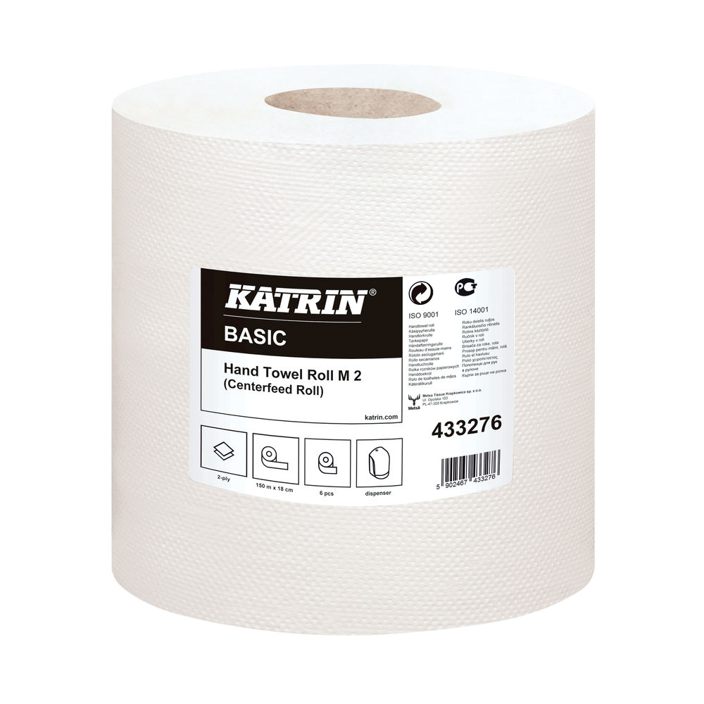 Katrin Basic Hand Towel Roll 2-Ply White (Pack of 6) 433276