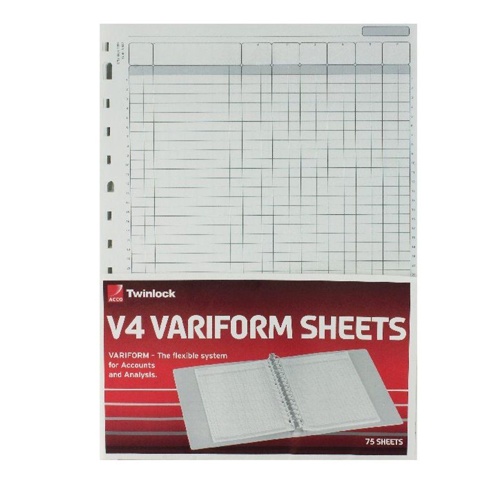 Acco Twinlock Variform V4 6 Column Cash Refill Sheets (Pack of 75) - 75932