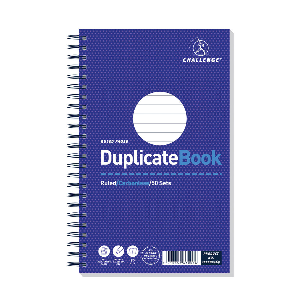 Challenge Carbonless Wirebound Duplicate Book 50 Sets 210x130mm (Pack of 5) 100080469
