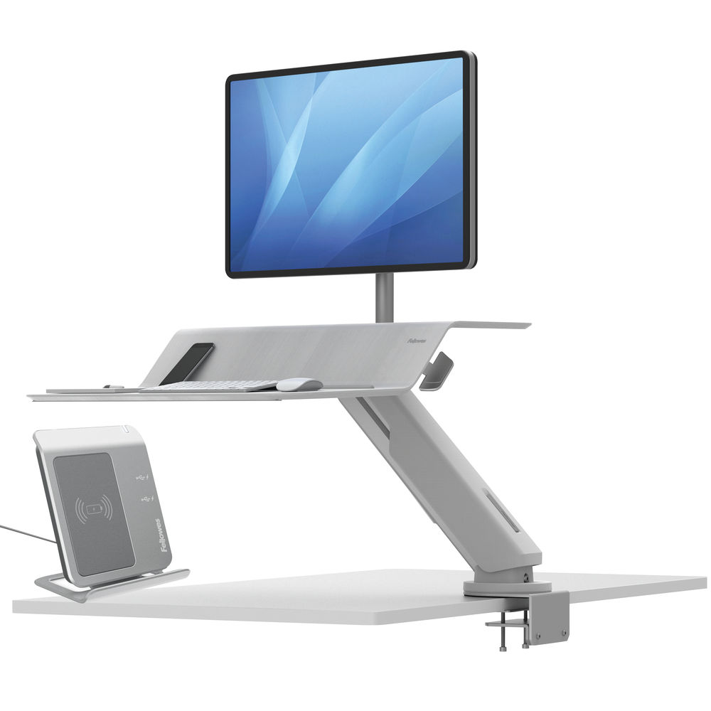 Fellowes Lotus White Sit Stand Single Screen Work Station – 8081701