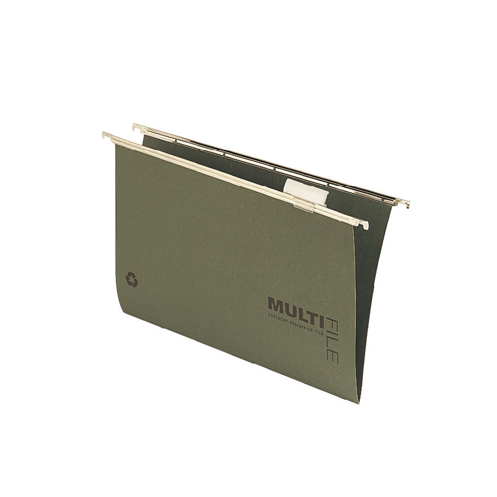 Rexel Multifile Foolscap Green Suspension Files 15mm - Pack of 50 - 78008