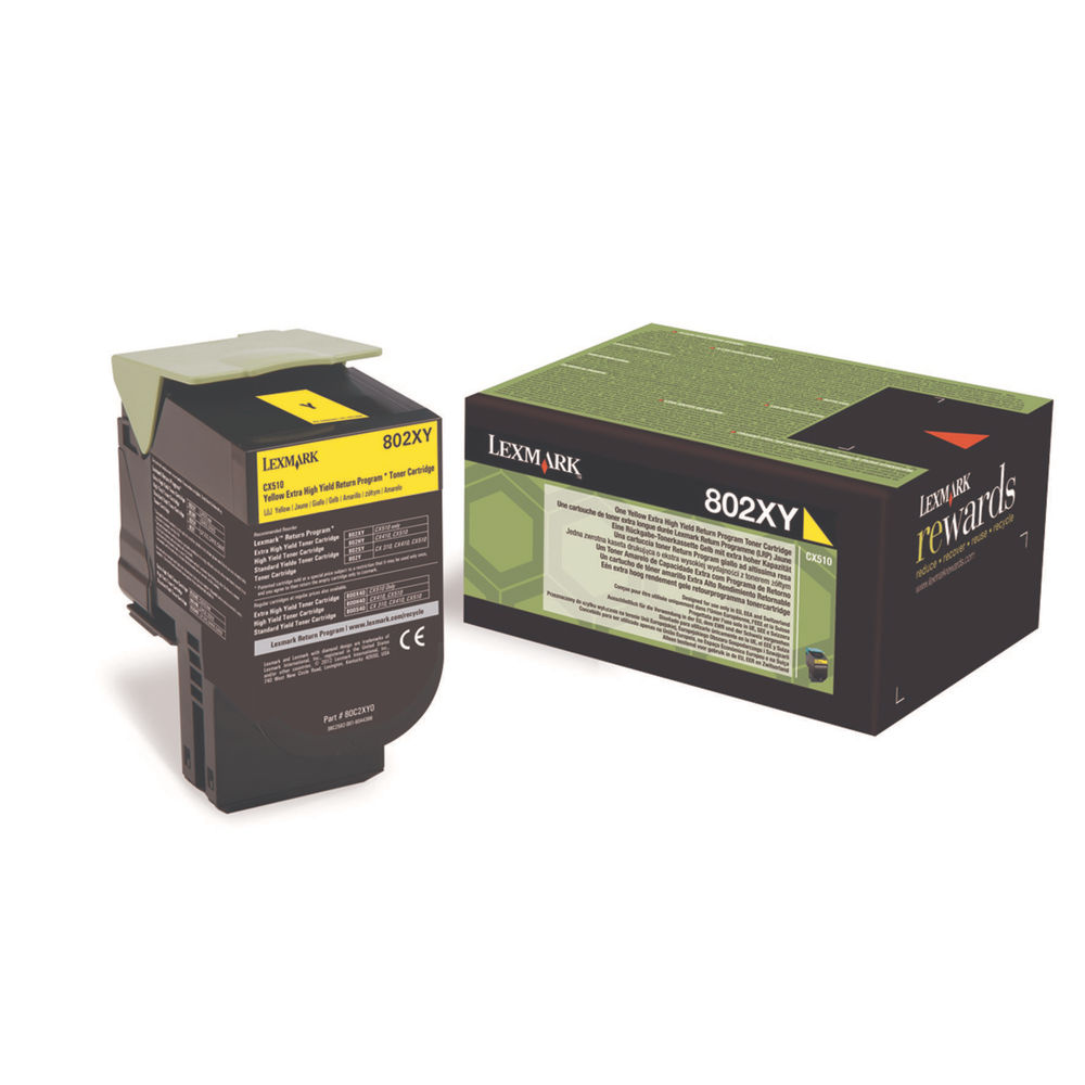 Lexmark 802XY Yellow Extra High Yield Toner Cartridge 80C2XY0