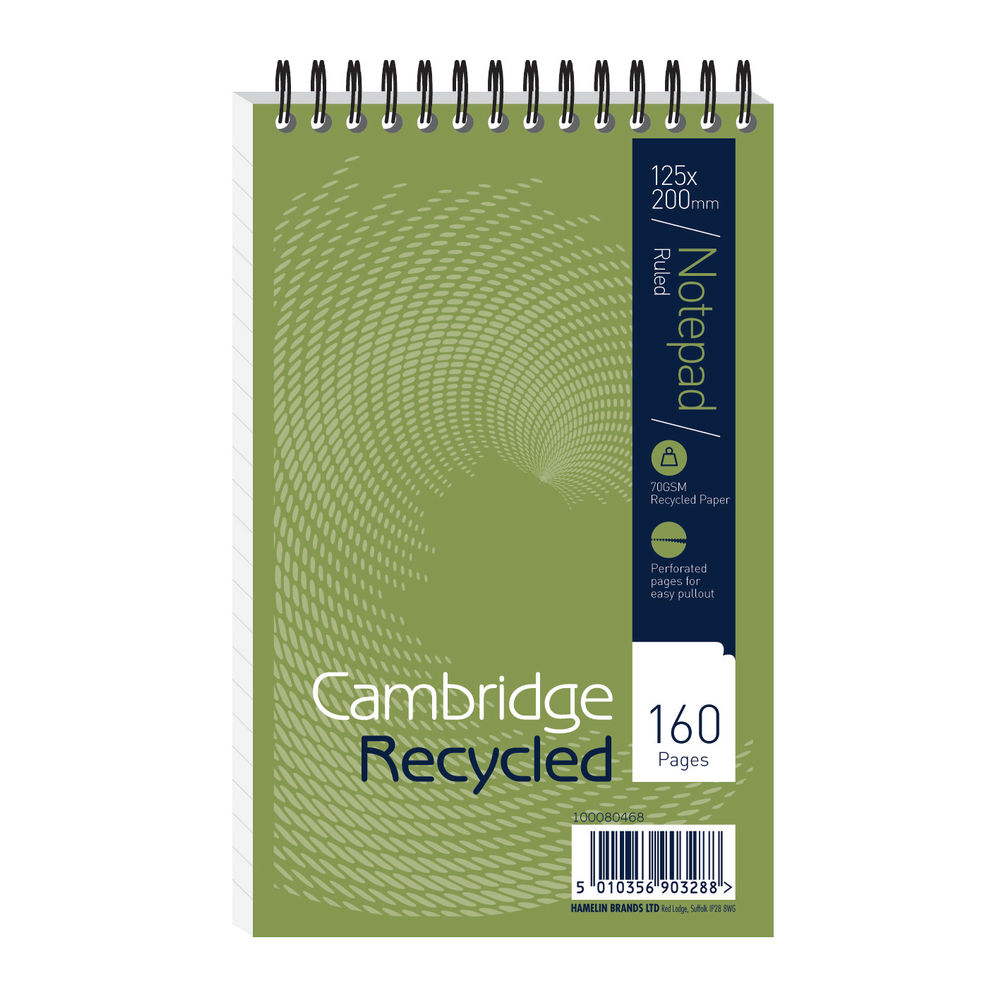 Cambridge Recycled Reporters Pads Headbound, Pack of 10 - JDF15002