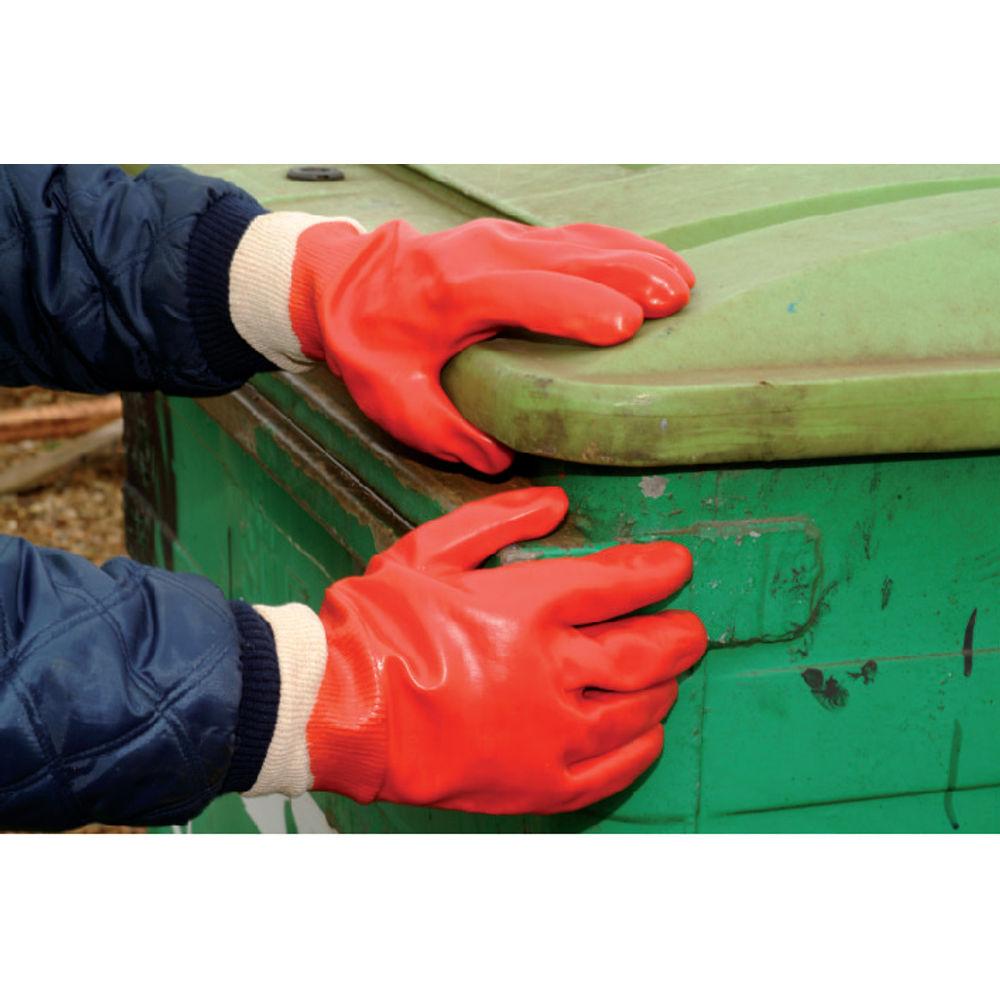 Polyco One Size Red PVC Knitwrist Gloves - P10R/E10