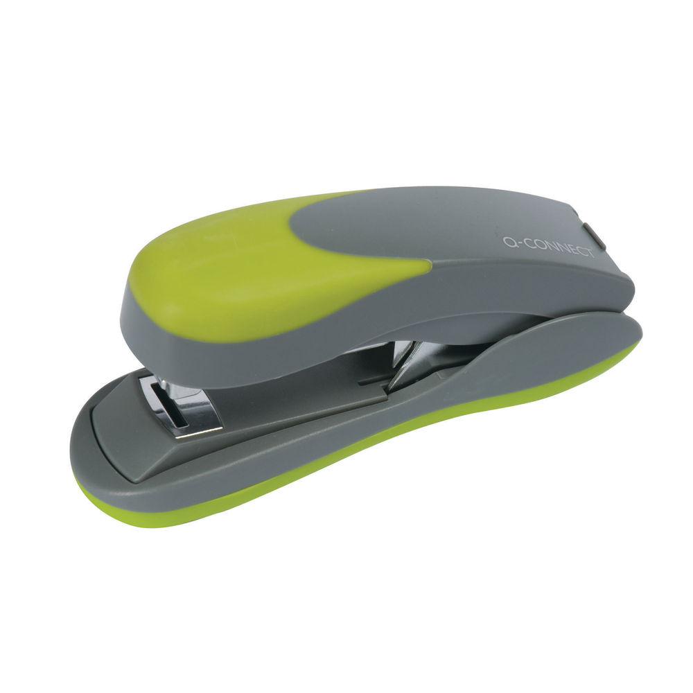 Q-Connect Grey and Green Softgrip Half Strip Stapler - KF00992