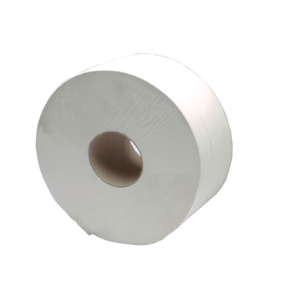2Work White 2-Ply Jumbo Toilet Rolls, Pack of 6 - J26410