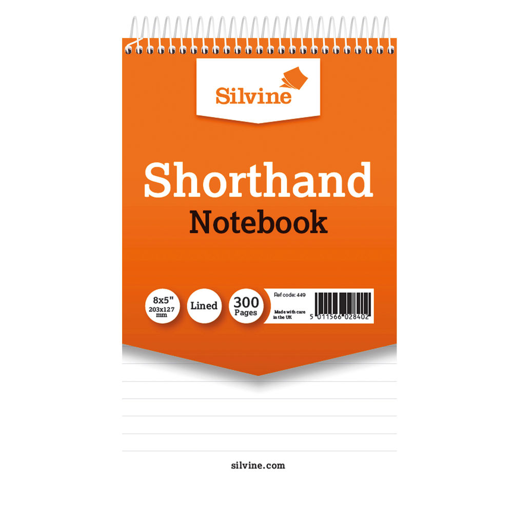 Silvine Value Feint Ruled Shorthand Spiral Notepads - Pack of 6 - 449