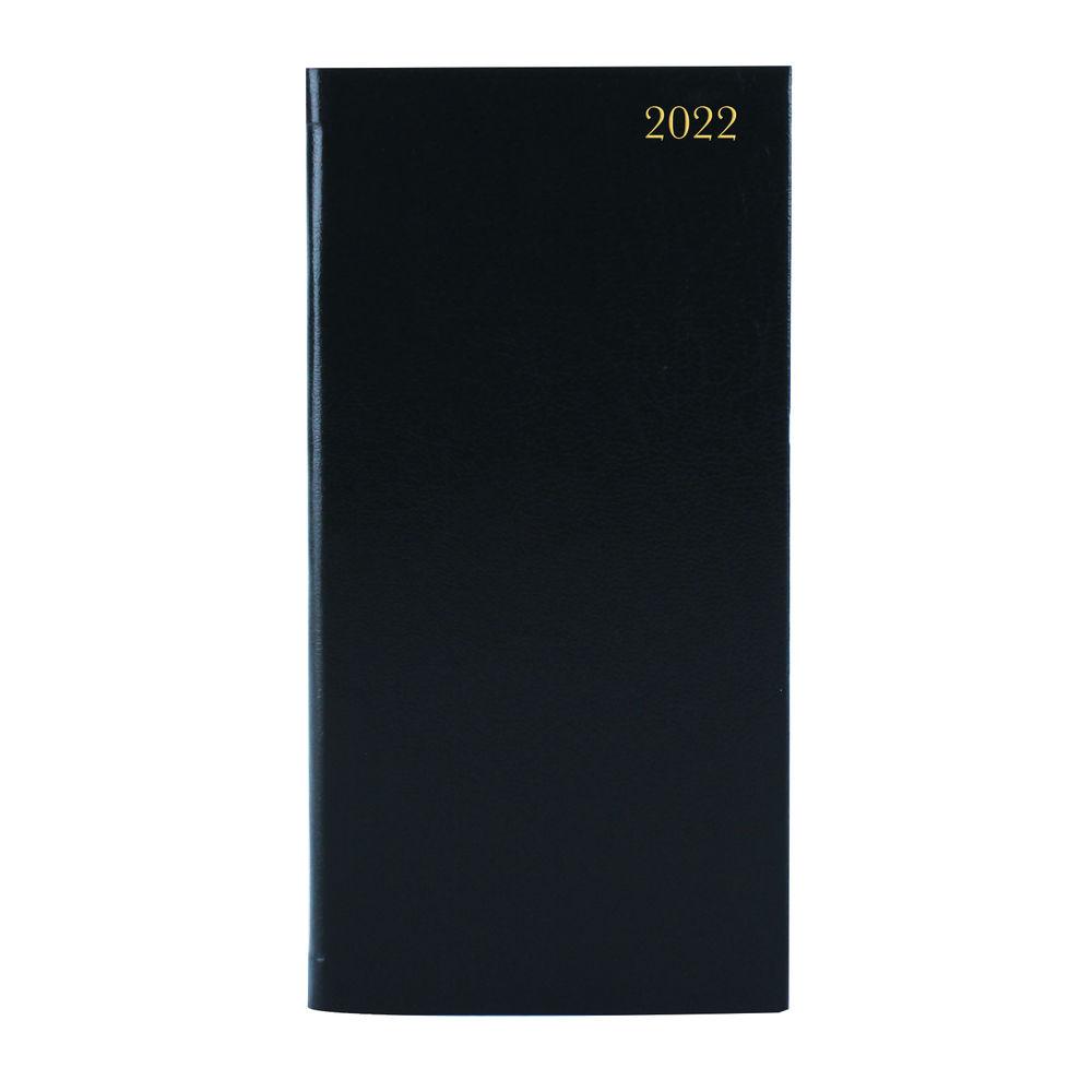 Slim Desk Diary Portrait Week To View Black 2022 KF1BK22