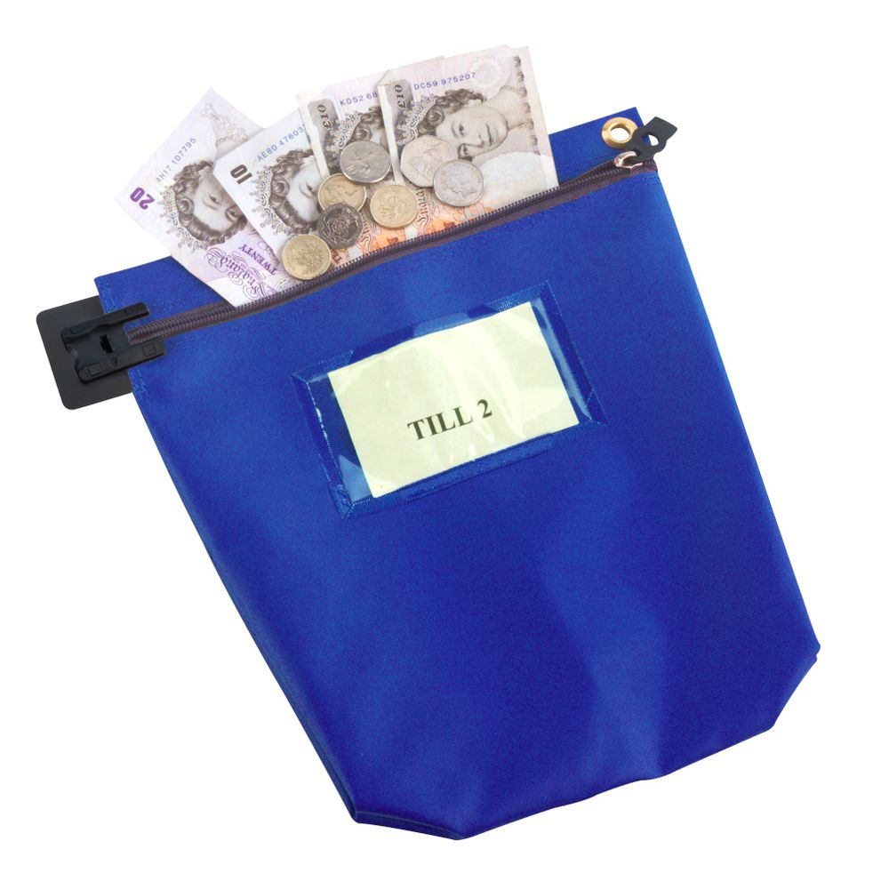 Go Secure Blue Security Cash Bag with Zip - CCB1