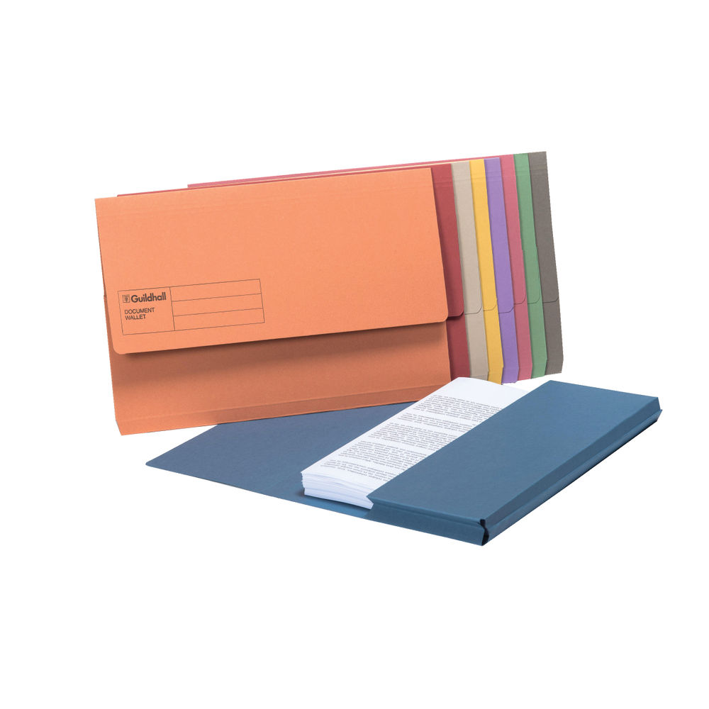 Guildhall A4/Foolscap Assorted Document Wallets 285gsm - Pack of 50 - GH14048